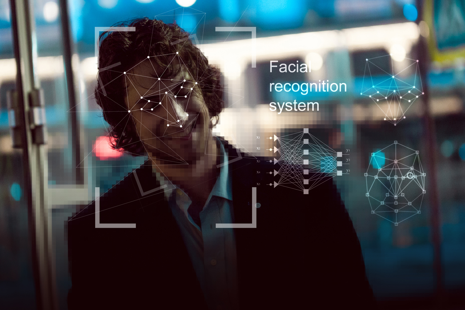 Facial recognition system, concept. Young man on the street, face recognition